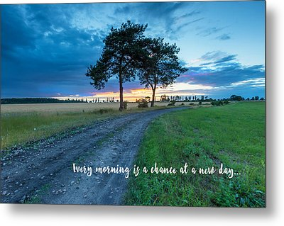 Breaking Dawn Country Road New Day Metal Print by Elaine Plesser
