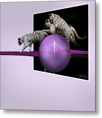 Breaking Out White Tigers Metal Print by Jackie Flaten