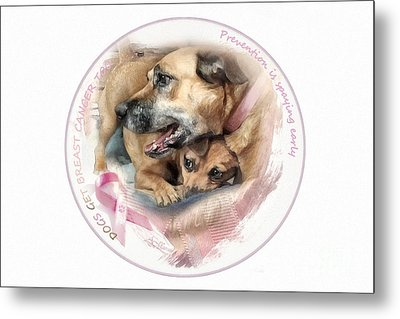Breast Cancer Awareness In Dogs Metal Print by Adelita Rog