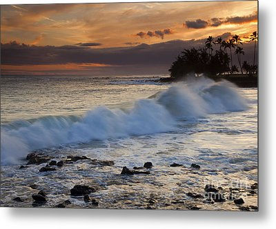 Brennecke Waves Sunset Metal Print by Mike  Dawson
