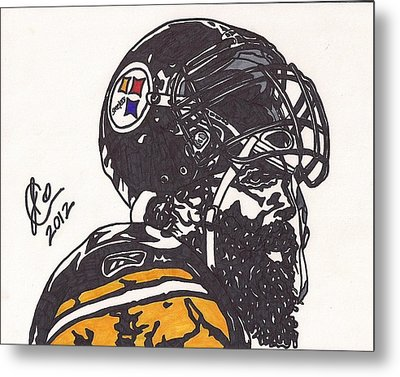 Metal Print featuring the drawing Brett Keisel by Jeremiah Colley
