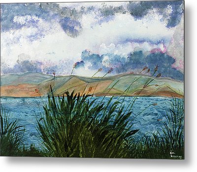 Brewing Storm Over Lake Watercolor Painting Metal Print