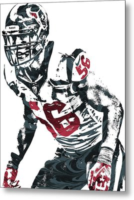 Brian Cushing Houston Texans Pixel Art Metal Print by Joe Hamilton