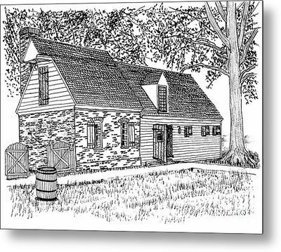 Brick And Siding Building With Loft Metal Print by Dawn Boyer