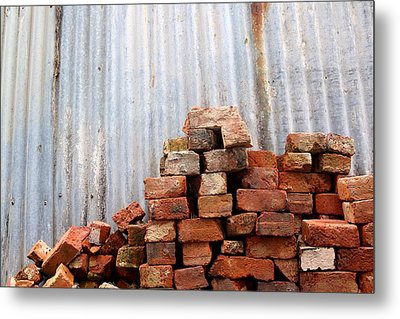 Metal Print featuring the photograph Brick Piled by Stephen Mitchell
