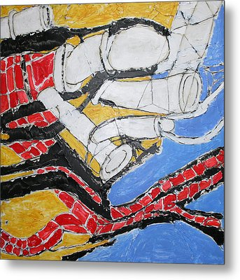 Bricks And Pipes Metal Print by Ray  Petersen