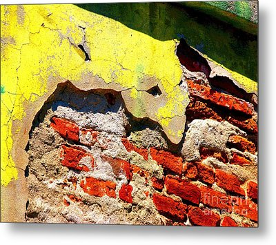 Bricks And Yellow By Michael Fitzpatrick Metal Print by Mexicolors Art Photography