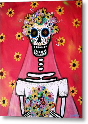 Metal Print featuring the painting Bridezilla Dia De Los Muertos by Pristine Cartera Turkus