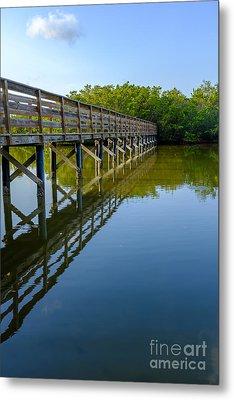Bridge Across The Bayou Metal Print by Edward Fielding