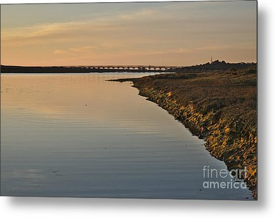 Bridge And Ria At Sunset In Quinta Do Lago Metal Print