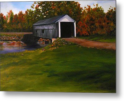 Bridge In The Fall Metal Print by Betty Pimm