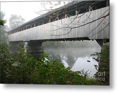 Bridge In The Fog Metal Print
