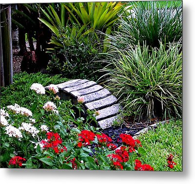 Metal Print featuring the photograph Bridge In The Garden by Merton Allen