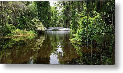 Metal Print featuring the photograph Bridge In The Garden by Sandy Keeton