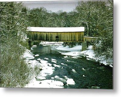 Bridge In Winter Metal Print