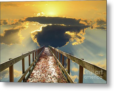 Bridge Into Sunset Metal Print by Inspirational Photo Creations Audrey Woods