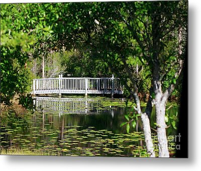 Metal Print featuring the photograph Bridge On Lilly Pond by Lori Mellen-Pagliaro