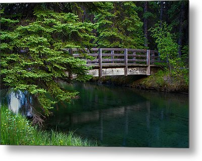 Metal Print featuring the photograph Bridge Over Glacial Waters In Banff National Park by Dave Dilli