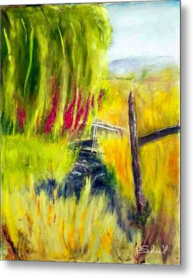 Metal Print featuring the painting Bridge Over Small Stream by Sherril Porter