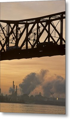 Bridge, River, And Skyline Full Of Air Metal Print by Kenneth Garrett