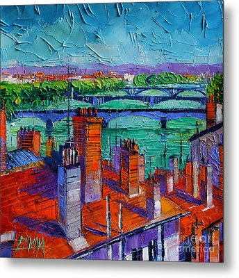 Bridges Of Lyon Metal Print by Mona Edulesco