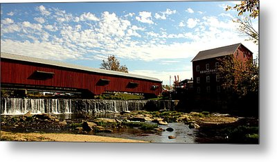 Bridgeton Covered Bridge And Mill By Earl's Photography Metal Print