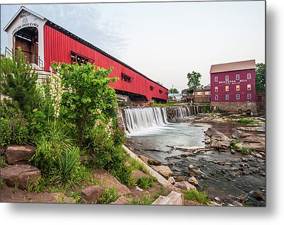 Bridgeton Indiana Mill And Covered Bridge Metal Print
