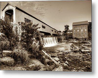 Bridgeton Mill And Covered Bridge - Indiana - Sepia Metal Print