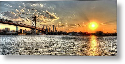 Bridging Two Cities. Philly Skyline View From Camden. Metal Print by Mark Ayzenberg
