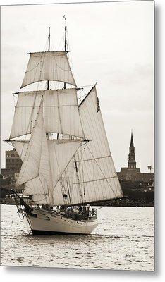 Brigantine Tallship Fritha Sailing Charleston Harbor Metal Print by Dustin K Ryan