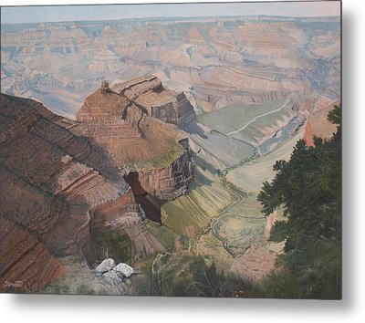 Bright Angel Trail Looking North To Plateau Point, Grand Canyon Metal Print