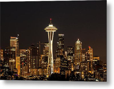 Bright At Night - Space Needle Metal Print by E Faithe Lester