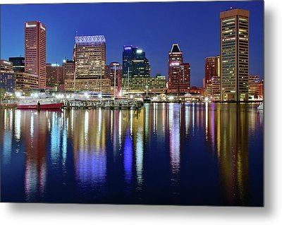 Metal Print featuring the photograph Bright Blue Baltimore Night by Frozen in Time Fine Art Photography