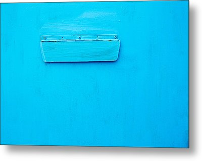 Bright Blue Paint On Metal With Postbox Metal Print by John Williams