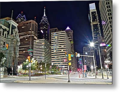 Bright Lights In Philly Metal Print by Frozen in Time Fine Art Photography