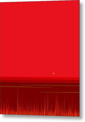 Metal Print featuring the digital art Bright Red Sunset Landscape by Val Arie