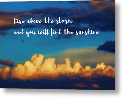 Bright Sunshine Above Storm Clouds Metal Print by Elaine Plesser