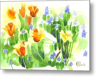 Metal Print featuring the painting Brightly April Flowers by Kip DeVore
