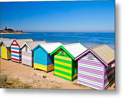 Brighton Beach Huts Metal Print by Az Jackson