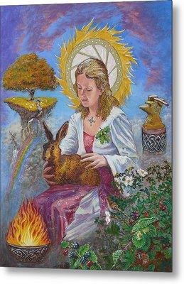 Brigid Goddess Celtic Goddess Of Fire Metal Print by Tomas OMaoldomhnaigh
