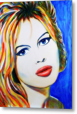 Metal Print featuring the painting Brigitte Bardot Pop Art Portrait by Bob Baker