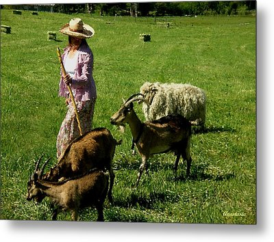 Metal Print featuring the painting Bringing Home The Flock by Anastasia Savage Ealy