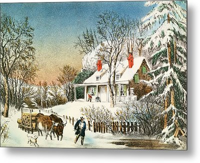 Bringing Home The Logs Metal Print by Currier and Ives