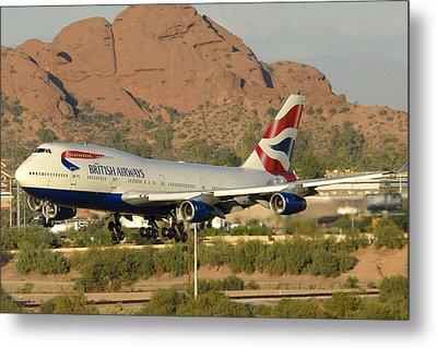 British Airways Boeing 747-436 G-civa Phoenix Sky Harbor October 26 2010 Metal Print