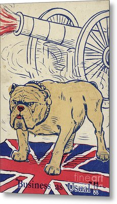 British Bulldog Stading On The Union Flag And With A Cannon Firing Metal Print by English School