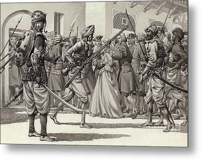 British Soldiers Are Forced Into The Black Hole Of Calcutta Metal Print by Pat Nicolle