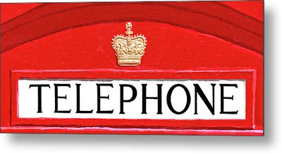 Metal Print featuring the mixed media British Telephone Box Sign by Mark Tisdale