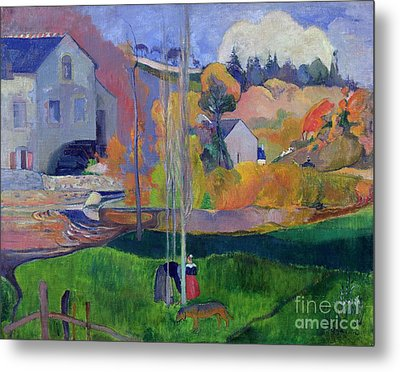 Brittany Landscape Metal Print by Paul Gauguin