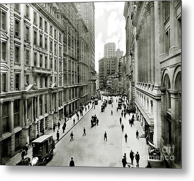 Broad St South Of Wall Street 1911 Metal Print by Jon Neidert
