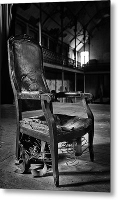 brokan chair at deserted theatre - BW abandoned places urban exp Metal Print by Dirk Ercken